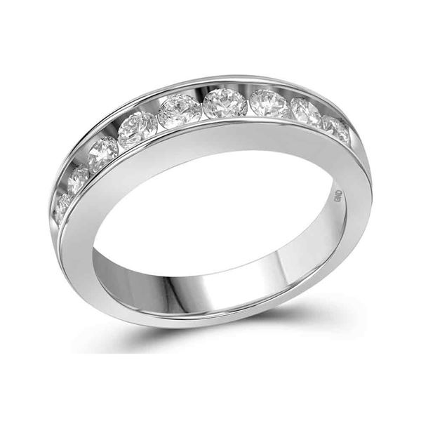 Channel-set Diamond Single Row Wedding Band 1 Cttw 14kt White Gold