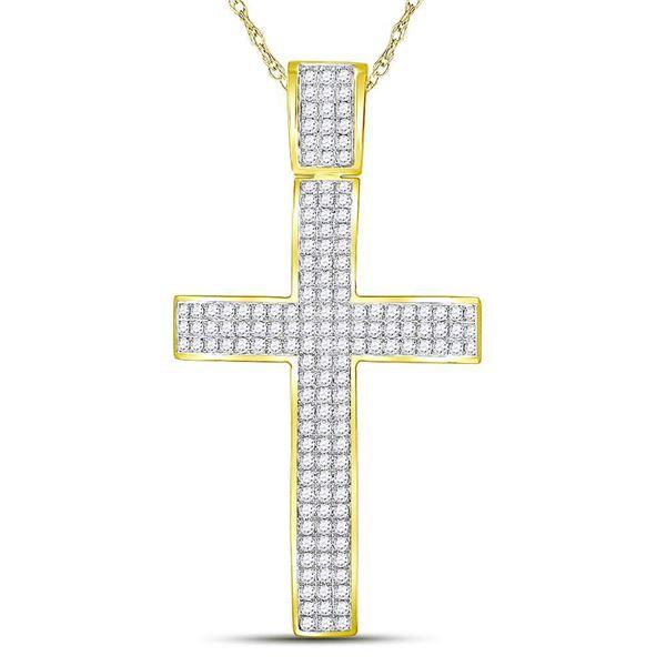 Mens Diamond Roman Cross Crucifix Charm Pendant 2-1/2 Cttw 10kt Yellow Gold