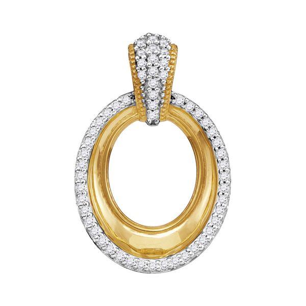 Diamond Framed Outline Oval Pendant 1/6 Cttw 10kt Yellow Gold