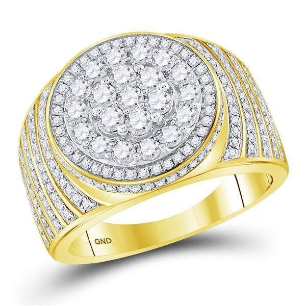 Mens Diamond Circle Flower Cluster Ring 2 Cttw 10kt Yellow Gold