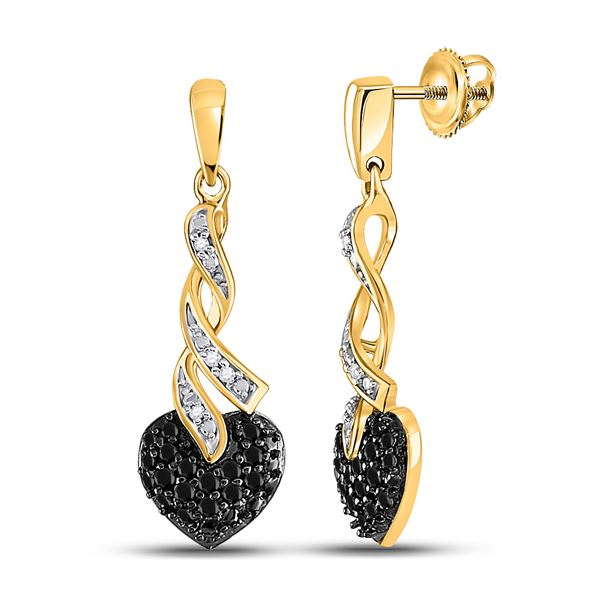 Black Color Enhanced Diamond Heart Earrings 1/5 Cttw 10kt Yellow Gold