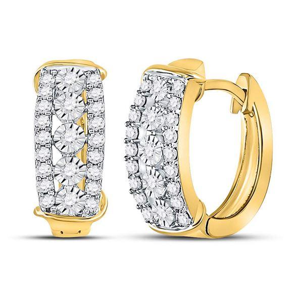 Diamond Huggie Earrings 1/2 Cttw 10kt Yellow Gold