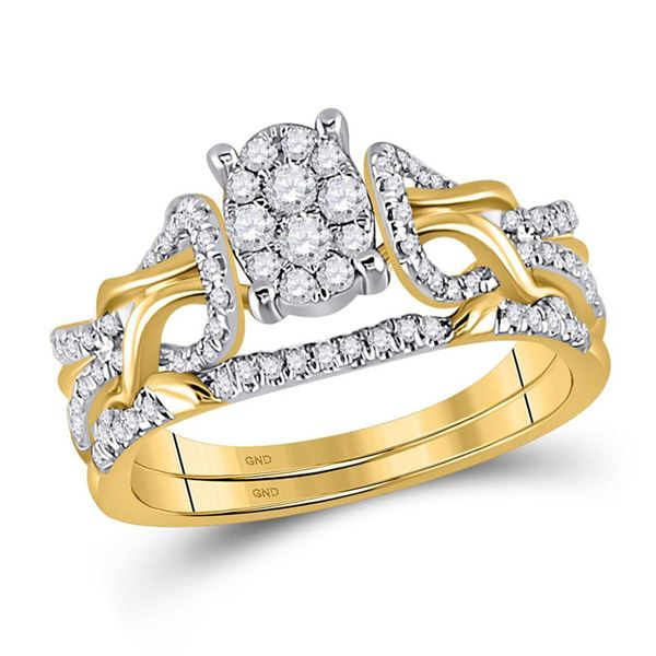 Diamond Bridal Wedding Ring Band Set 1/2 Cttw 10kt Yellow Gold