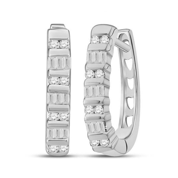 Baguette Diamond Hoop Earrings 1/4 Cttw 10kt White Gold