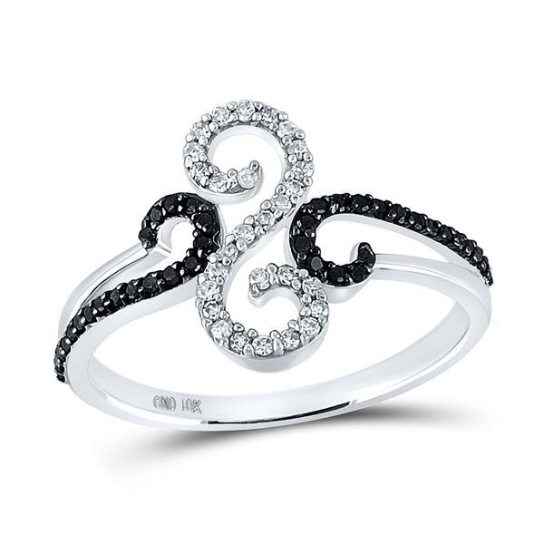 Black Color Enhanced Diamond Swirl Ring 1/5 Cttw 10kt White Gold