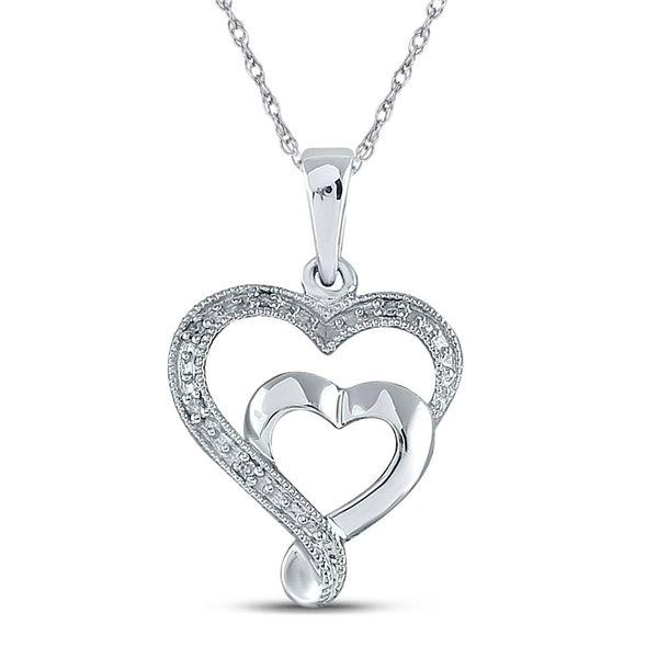 Diamond Heart Pendant .02 Cttw Sterling Silver