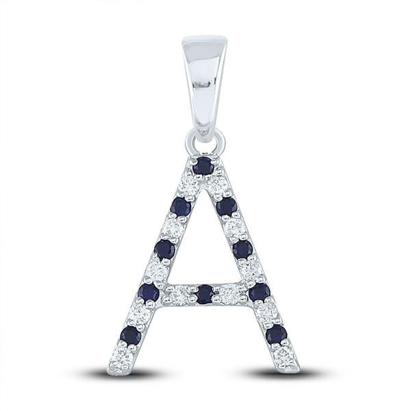 Blue Sapphire Diamond Initial A Letter Pendant 1/5 Cttw 10kt White Gold