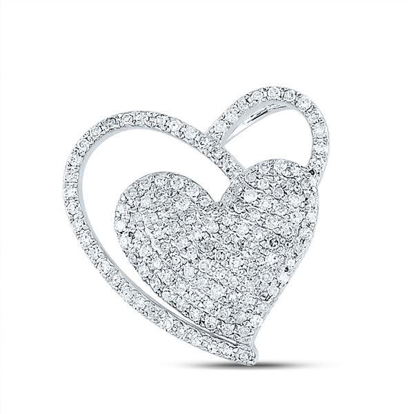 Diamond Heart Pendant 3/8 Cttw 10kt White Gold