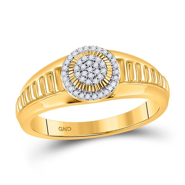 Diamond Circle Cluster Ribbed Ring 1/8 Cttw 10kt Yellow Gold