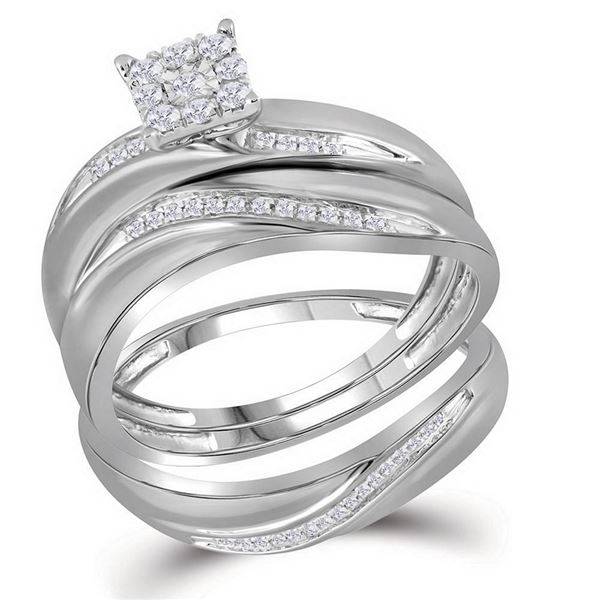 His Hers Diamond Cluster Matching Wedding Set 1/5 Cttw 10kt White Gold
