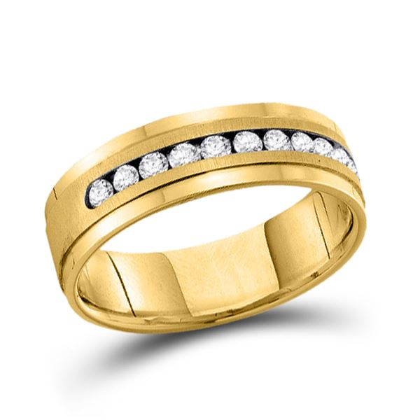 Mens Channel-set Diamond Single Row Wedding Band Ring 1/2 Cttw 14kt Yellow Gold