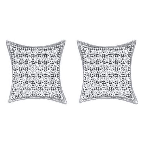 Diamond Square Kite Cluster Earrings 3/8 Cttw 10kt White Gold