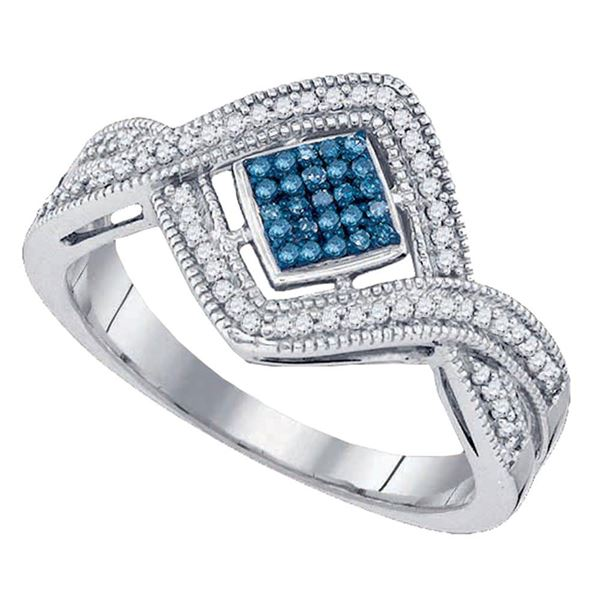 Blue Color Enhanced Diamond Square Frame Cluster Ring 1/6 Cttw 10kt White Gold