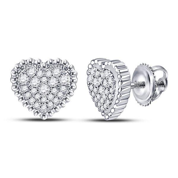 Diamond Beaded Heart Earrings 1/4 Cttw 10kt White Gold