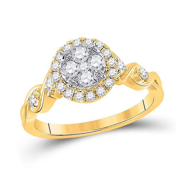 Diamond Cluster Halo Ring 1/2 Cttw 10kt Yellow Gold