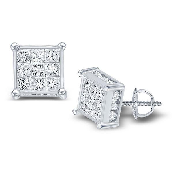 Princess Diamond Cluster Stud Earrings 1/2 Cttw 14kt White Gold