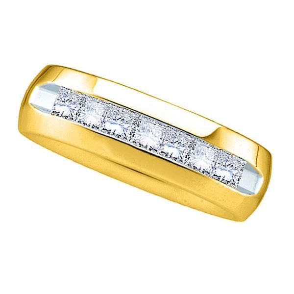 Mens Princess Channel-set Diamond Wedding Anniversary Band Ring 1 Cttw 14kt Yellow Gold