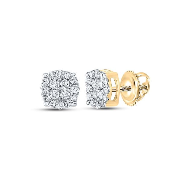 Mens Diamond Cluster Earrings 1/4 Cttw 10kt Yellow Gold