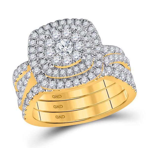 Diamond Bridal Wedding Ring Band Set 2 Cttw 14kt Yellow Gold