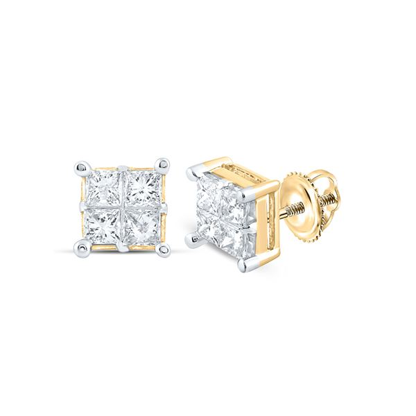 Princess Diamond Square Cluster Earrings 1 Cttw 14kt Yellow Gold