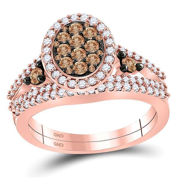 Brown Diamond Bridal Wedding Ring Band Set 1 Cttw 10kt Rose Gold