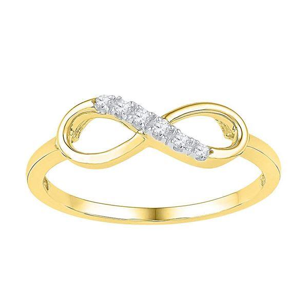 Diamond Infinity Ring 1/20 Cttw 10kt Yellow Gold