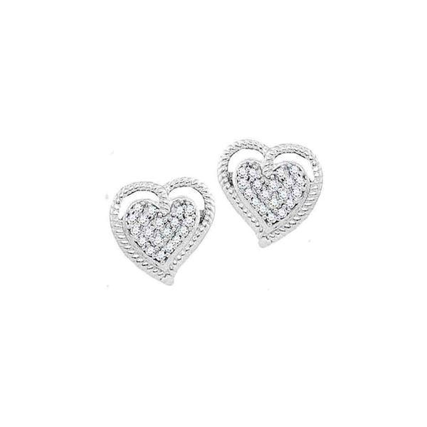 Diamond Rope Heart Cluster Earrings 1/10 Cttw 10kt White Gold