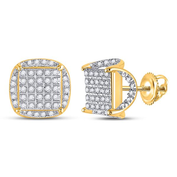 Mens Diamond Square Stud Earrings 1/3 Cttw 10kt Yellow Gold