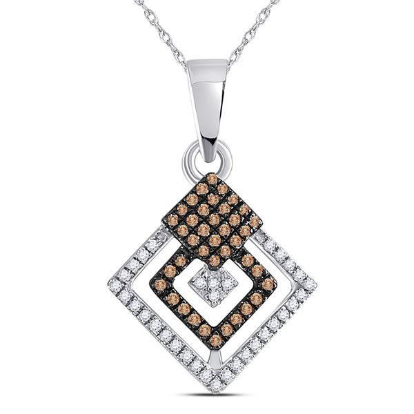 Brown Diamond Square Pendant 1/4 Cttw 10kt White Gold
