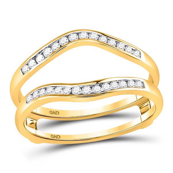 Diamond Channel Set Wrap Ring Guard Enhancer 1/4 Cttw 14kt Yellow Gold