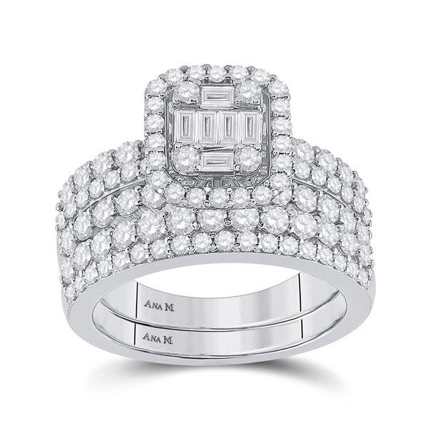 Baguette Diamond Bridal Wedding Ring Band Set 2 Cttw 14kt White Gold