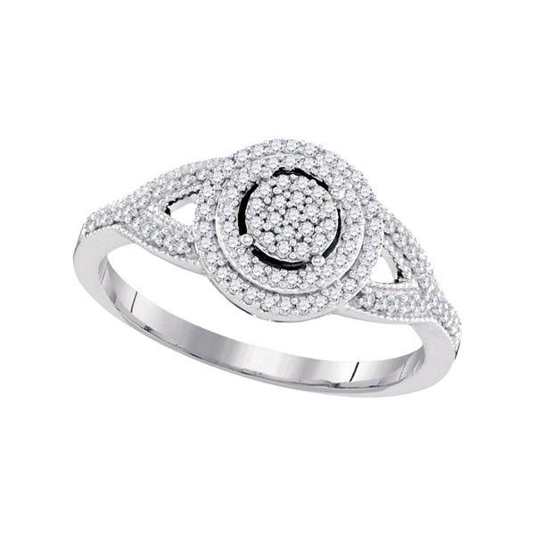 Diamond Circle Cluster Bridal Wedding Engagement Ring 1/4 Cttw 10kt White Gold