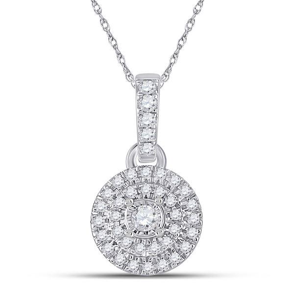 Diamond Circle Pendant 1/6 Cttw 10kt White Gold