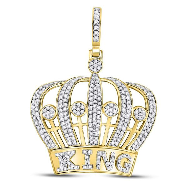 Mens Diamond King Crown Charm Pendant 1 Cttw 10kt Yellow Gold
