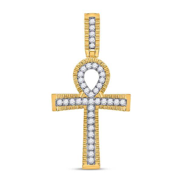 Mens Diamond Ankh Cross Charm Pendant 1 Cttw 10kt Yellow Gold