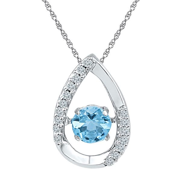 Lab-Created Blue Topaz Teardrop Moving Twinkle Pendant 3/4 Cttw Sterling Silver