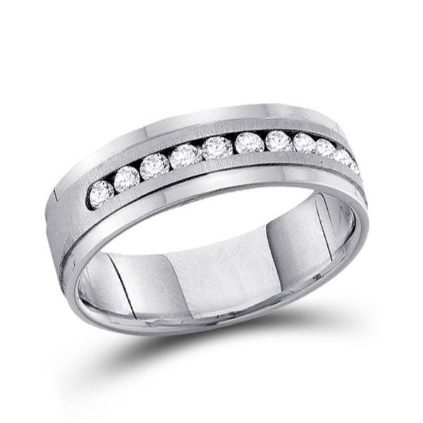 Mens Machine Set Diamond Wedding Channel Band Ring 1/2 Cttw 14kt White Gold
