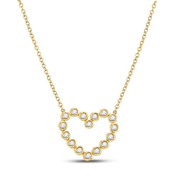 Diamond Outline Heart Necklace 1/4 Cttw 14kt Yellow Gold