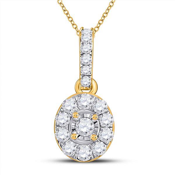Diamond Oval Pendant 1/5 Cttw 10kt Yellow Gold