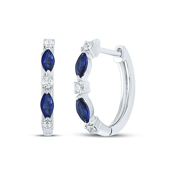 Marquise Blue Sapphire Diamond Hoop Earrings 3/8 Cttw 14kt White Gold