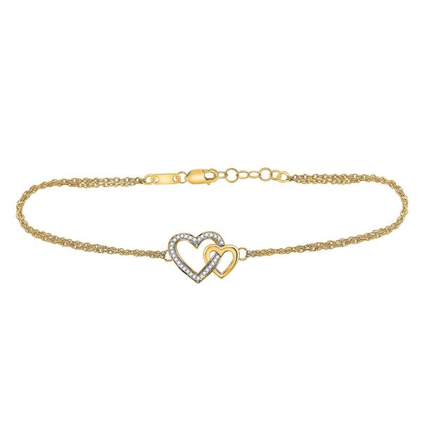 Diamond Double Heart Bracelet 1/10 Cttw 10kt Yellow Gold