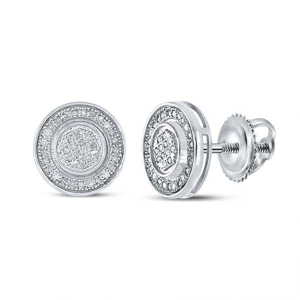 Sterling Silver Mens Diamond Circle Disk Stud Earrings 1/5 Cttw Sterling Silver