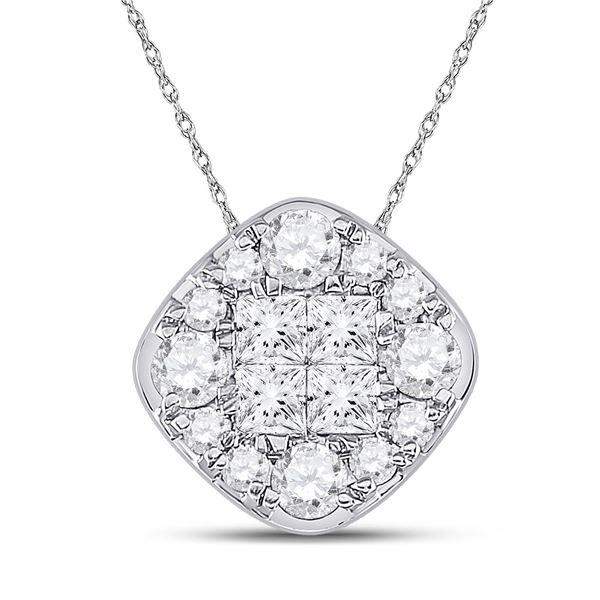 Princess Diamond Offset Square Cluster Pendant 1 Cttw 14kt White Gold