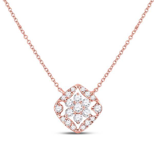 Diamond Floral Cluster Necklace 1/3 Cttw 14kt Rose Gold