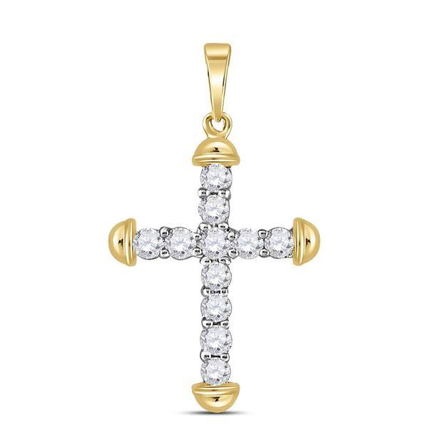 Diamond Cross Pendant 1/3 Cttw 10kt Yellow Gold