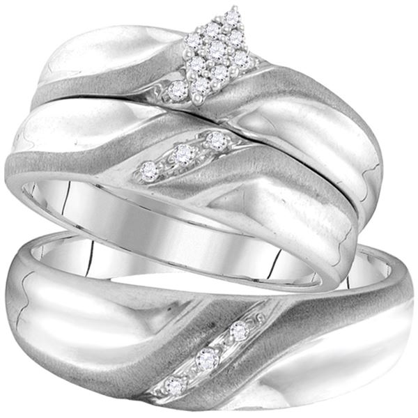 His Hers Diamond Cluster Matching Wedding Set 1/8 Cttw 10kt White Gold