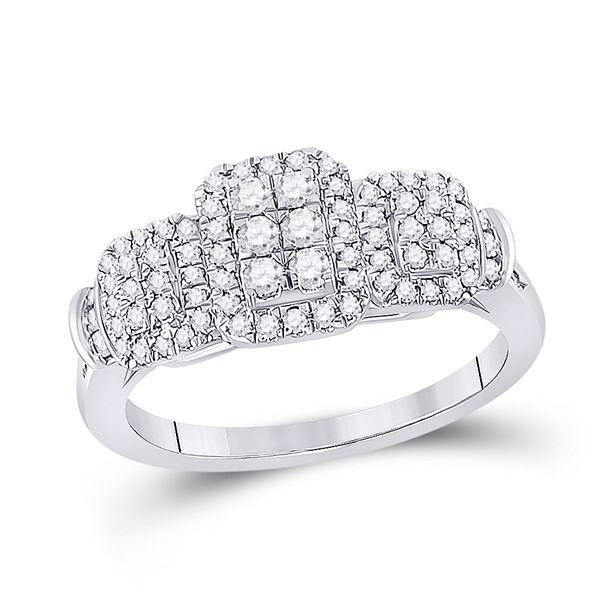Diamond Triple Rectangle Cluster Ring 1/2 Cttw 10kt White Gold