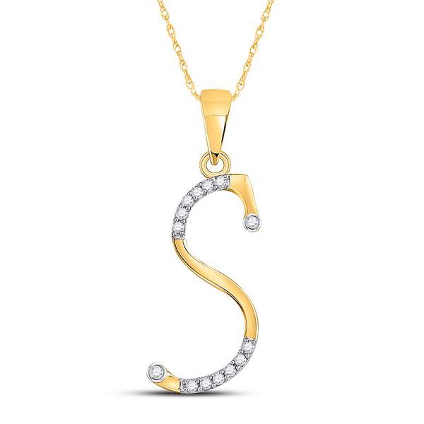 Diamond S Initial Letter Pendant 1/10 Cttw 10kt Yellow Gold