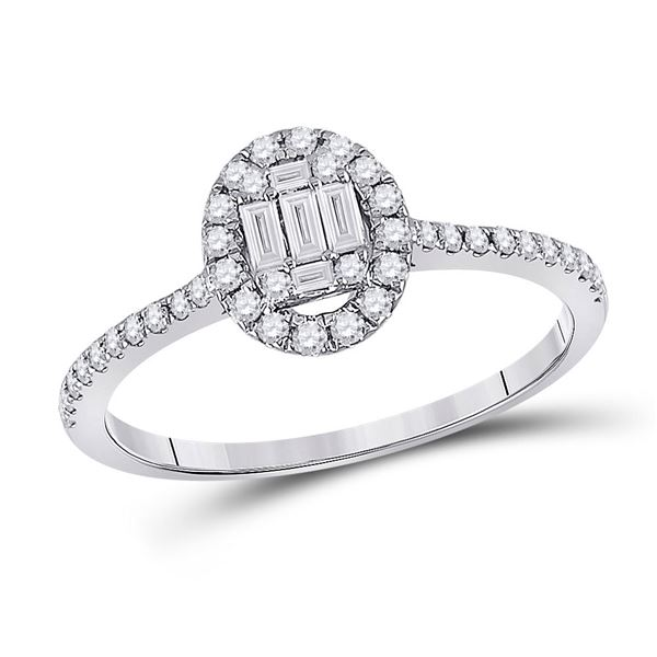 Baguette Diamond Oval Cluster Ring 1/3 Cttw 14kt White Gold