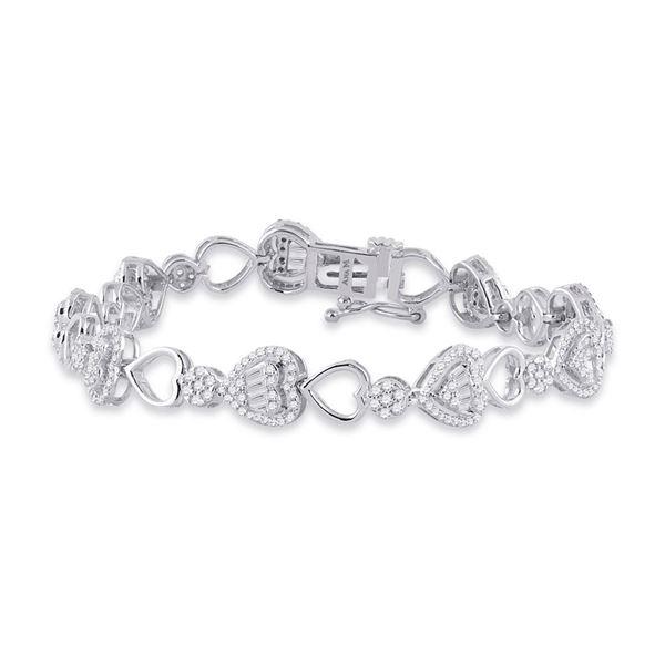 Baguette Diamond Heart Link Bracelet 2 Cttw 14kt White Gold